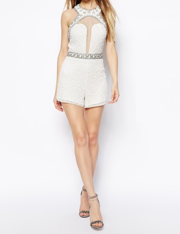 ASOS Embellished Playsuit With Plunge Detail