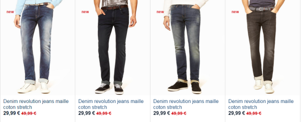 pantalon denim revolution celio